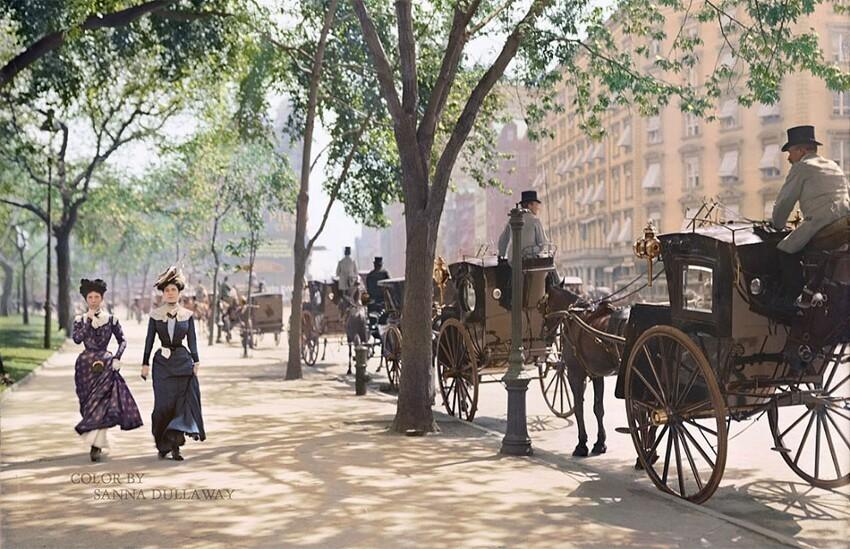 """14. """"Стоянка такси"""" в парке Мэдисон-сквер, Нью-Йорк, примерно 1900 год"""
