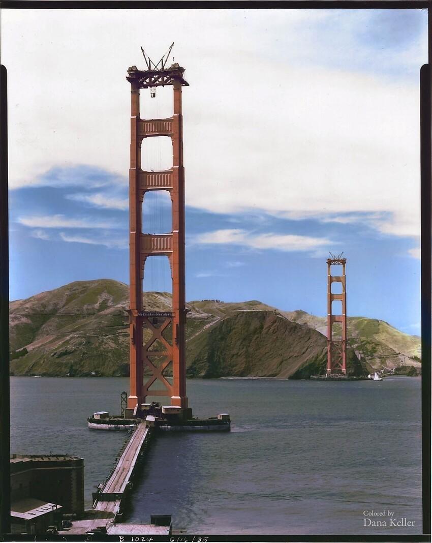 11. Строительство моста Золотые Ворота в Сан-Франциско, 1935 год