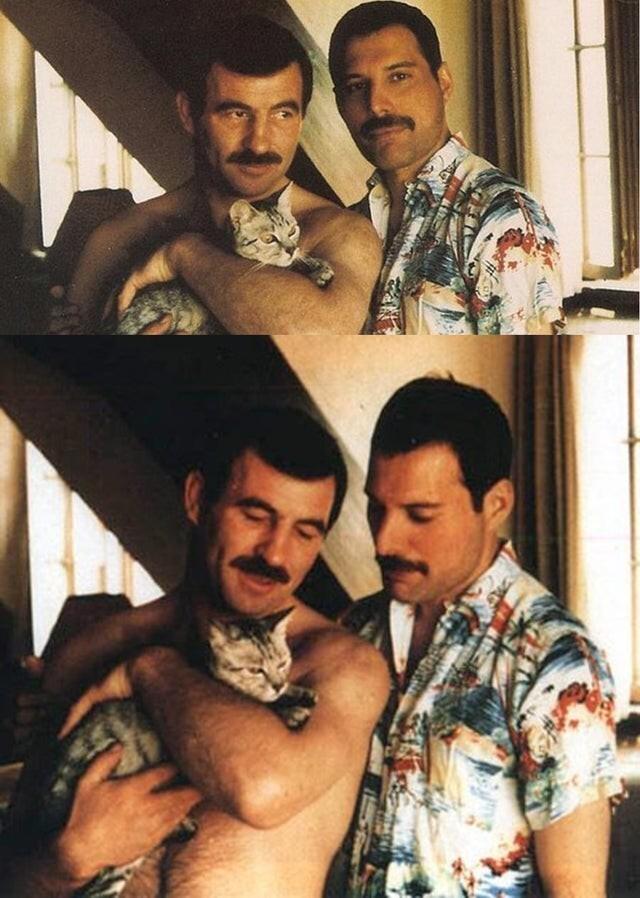 3. Фредди Меркьюри и его партнер Джим Хаттон со своим котенком, конец 1980-х