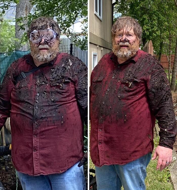 """""""Кажется, мой папа сожалеет о том, что решил почистить водосточную канаву воздуходувкой для листьев"""""""