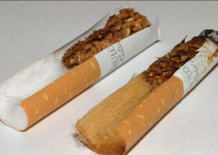 """Сигаретные фильтры были разработаны с использованием химических веществ, которые изменяют цвет - чтобы создать иллюзию, что они """"отфильтровывают"""" токсины"""
