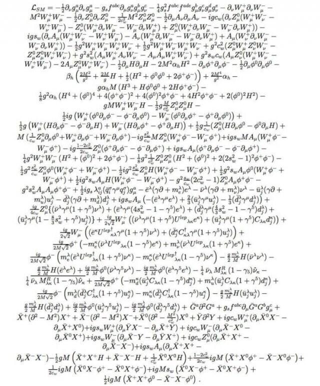 17. Лагранжиан стандартной модели. Это уравнение включает в себя все, что мы сейчас знаем о физике элементарных частиц