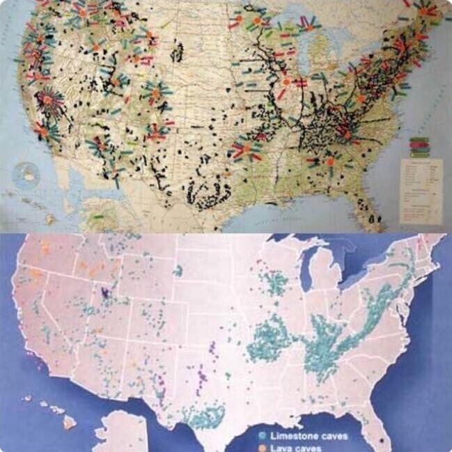 6. Карта пропавших без вести в США пугающе похожа на карту пещерных систем