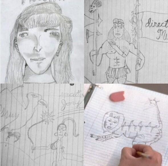 """Актер Джон Хидер, исполняющий главную роль в фильме """"Наполеон Динамит"""" (2004), сам нарисовал все эти рисунки"""