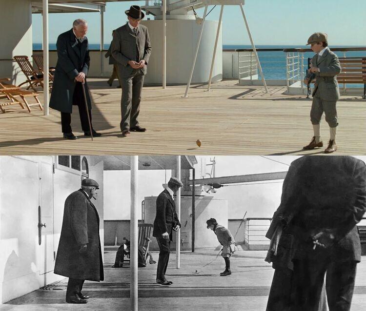 """В одной из сцен """"Титаника"""" мальчик крутит волчок на палубе. Эта же сцена изображена на снимке с настоящего Титаника, который был сделан 11 апреля 1912 года"""