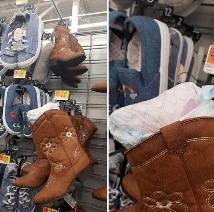 Какая-то мамаша не нашла ничего лучше, чем оставить памперс в магазине обуви