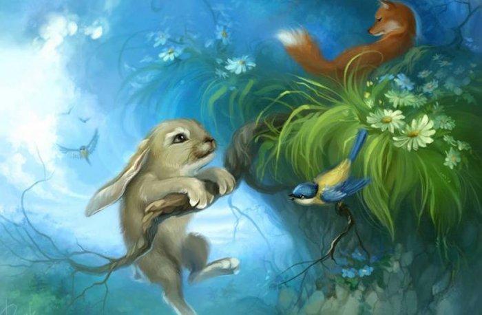 Добрая сказка на ночь про зайчика, который прыгать учился