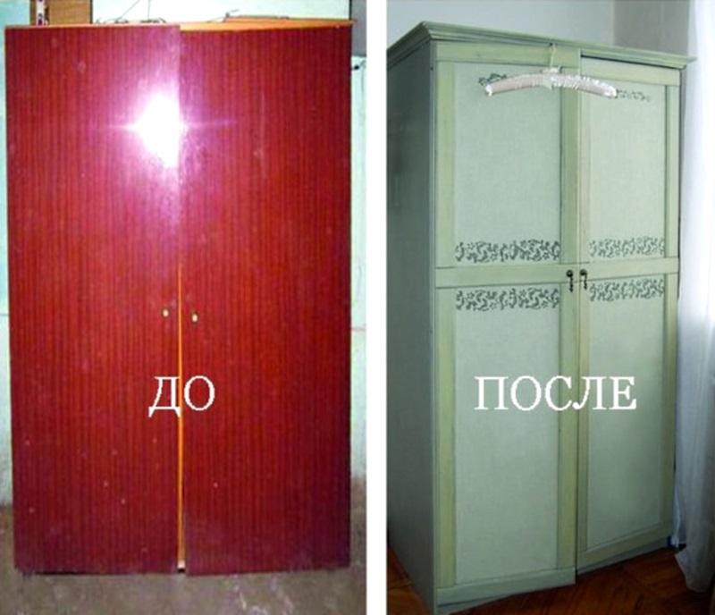 Как обновить старую полированный шкаф своими руками фото