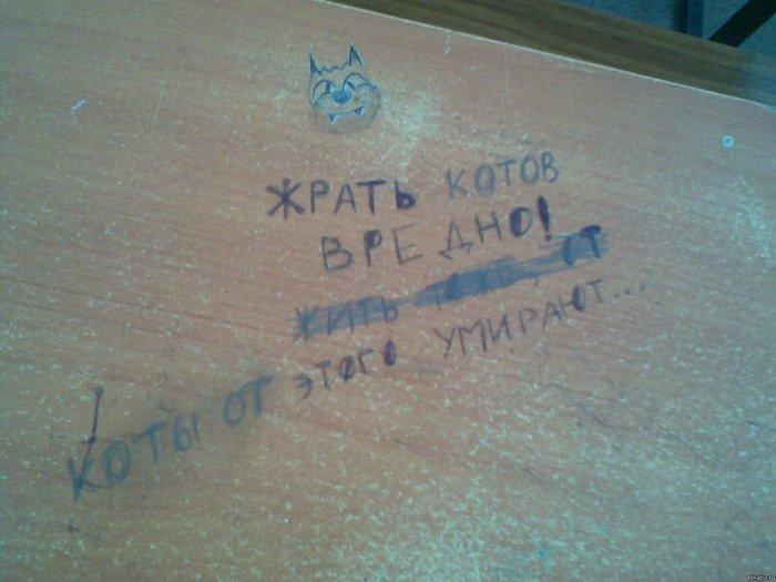 Надписи на партах от гениальных школьников и студентов!