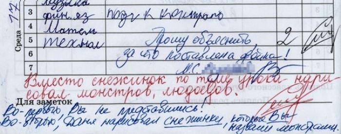 Школьные приколы и казусы в дневниках и тетрадях!