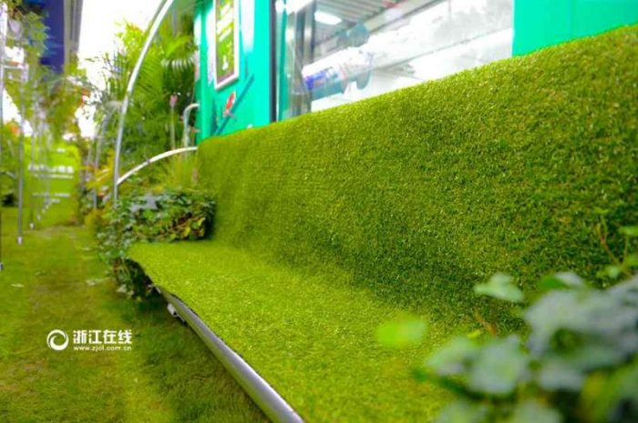 В Китае вагон метро превратили в зеленый лес!