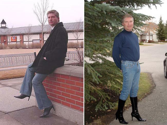 Ничего необычного, просто мужчина в женской обуви