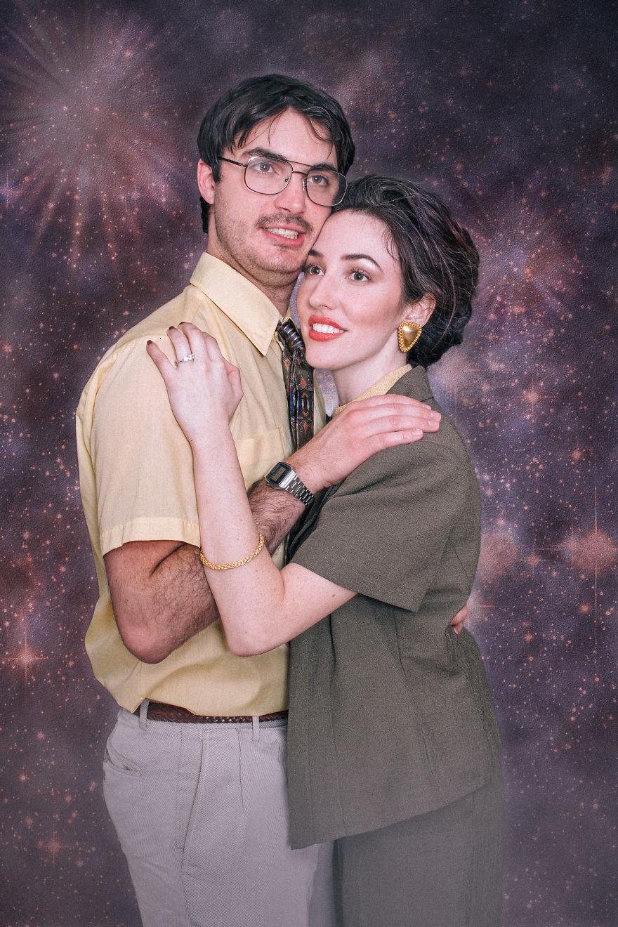 Фотосессия на помолвку в стиле 80-х