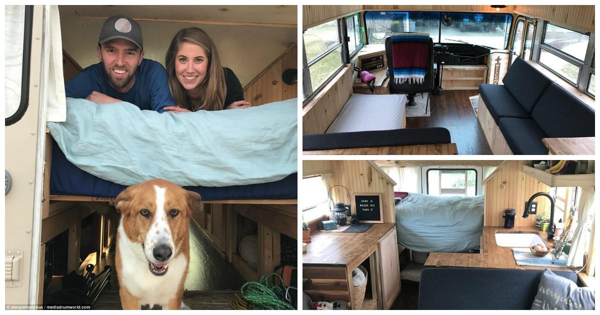 Пара из США соорудила мечту путешественника - свой дом на колесах из школьного автобуса