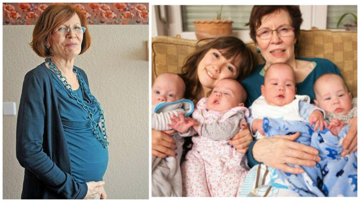 Эта женщина родила в 65 лет четверняшек, при уже имеющихся 13-ти детях