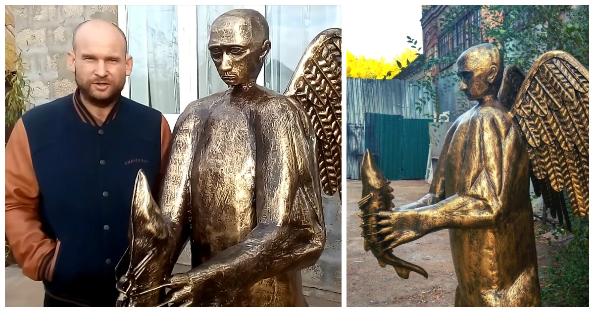 Астраханец выковал жуткую скульптуру в подарок президенту Путину