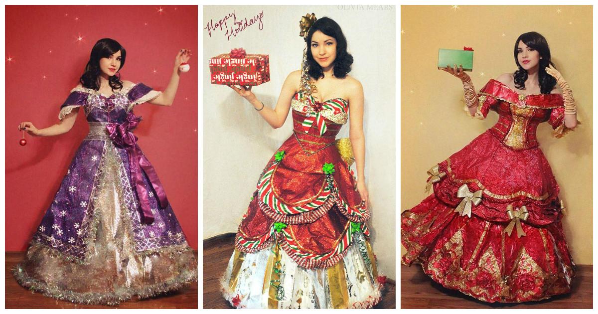 Свои необычные платья Оливия Мирс мастерит из упаковочной бумаги