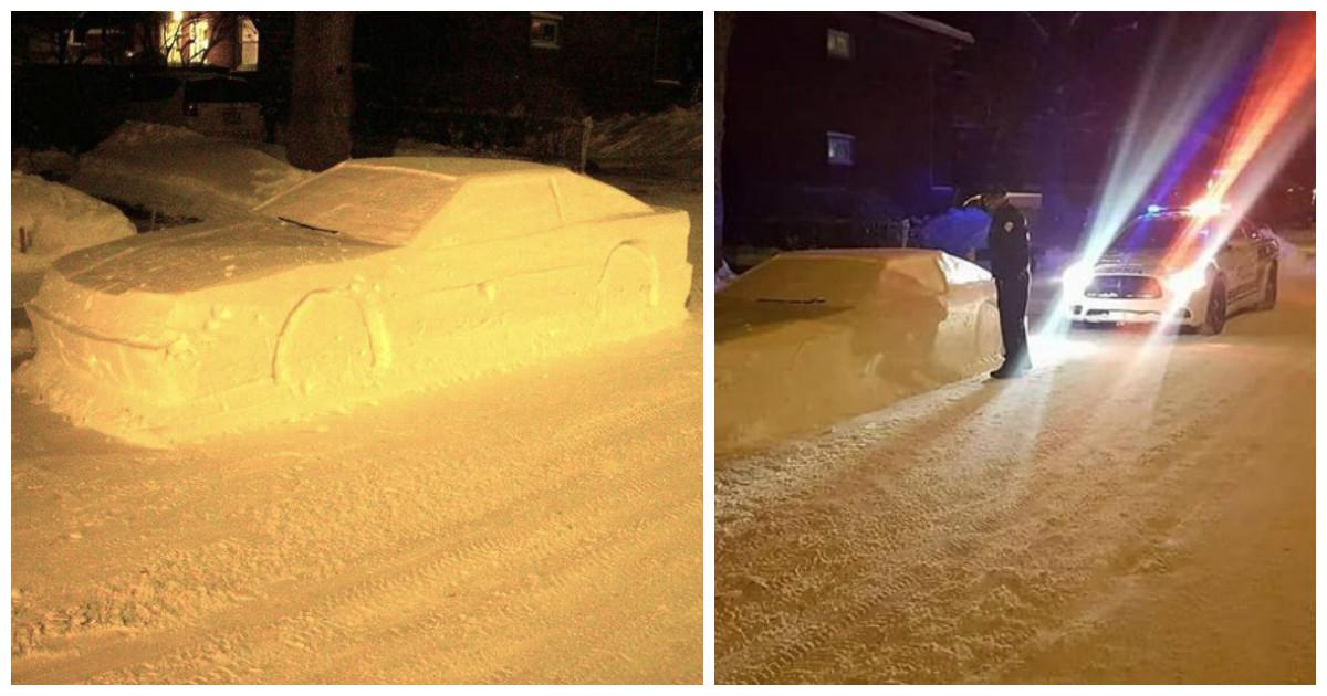 Канадский полицейский чуть не выписал штраф снеговику