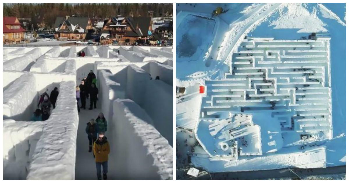 Курортный городок в Польше предлагает прогуляться по самому большому снежному лабиринту в мире