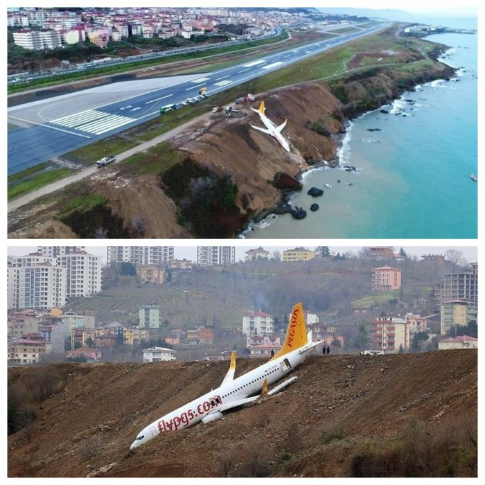"Опубликовано видео турецкого ""Боинга"", повисшего на обрыве над морем"