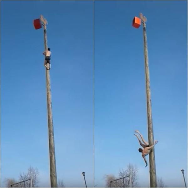Смельчак-невезунчик рухнул с высоченного масленичного столба