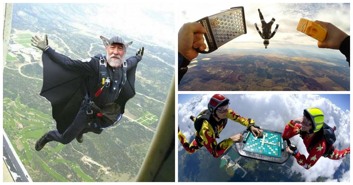 Простым прыжком с парашютом уже никого не удивишь