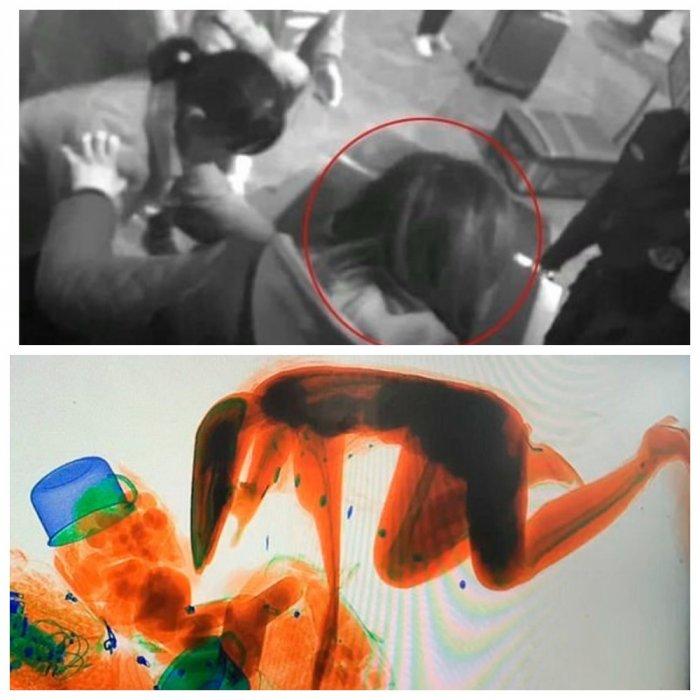 Китаянка залезла с сканер для багажа и стала произведением искусства