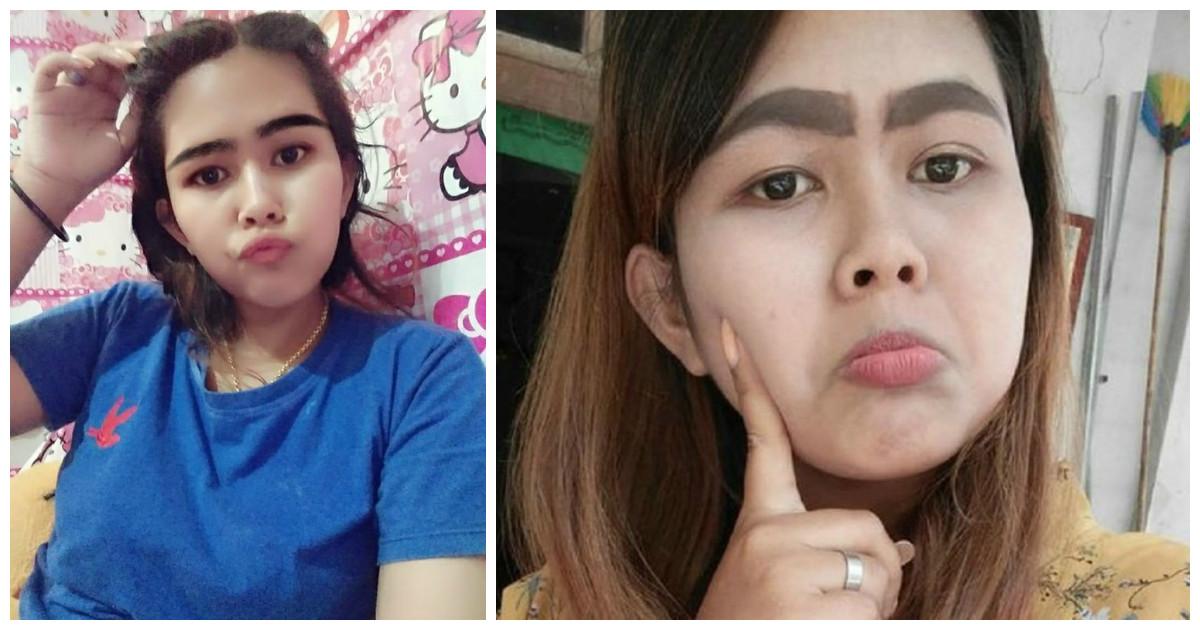 Девушки из Тайланда опытным путем выяснила, что свои брови лучше нарисованных