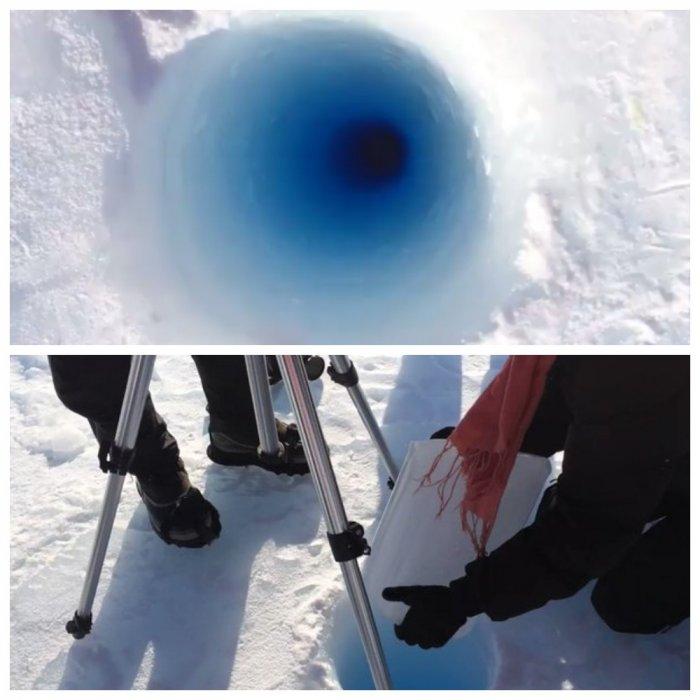 Ученые бросили кусок льда в 90-метровую скважину в Антарктиде (видео)