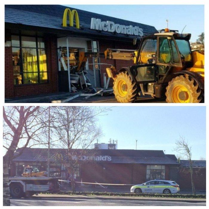 В Ирландии воришки вломились в McDonald's на экскаваторе