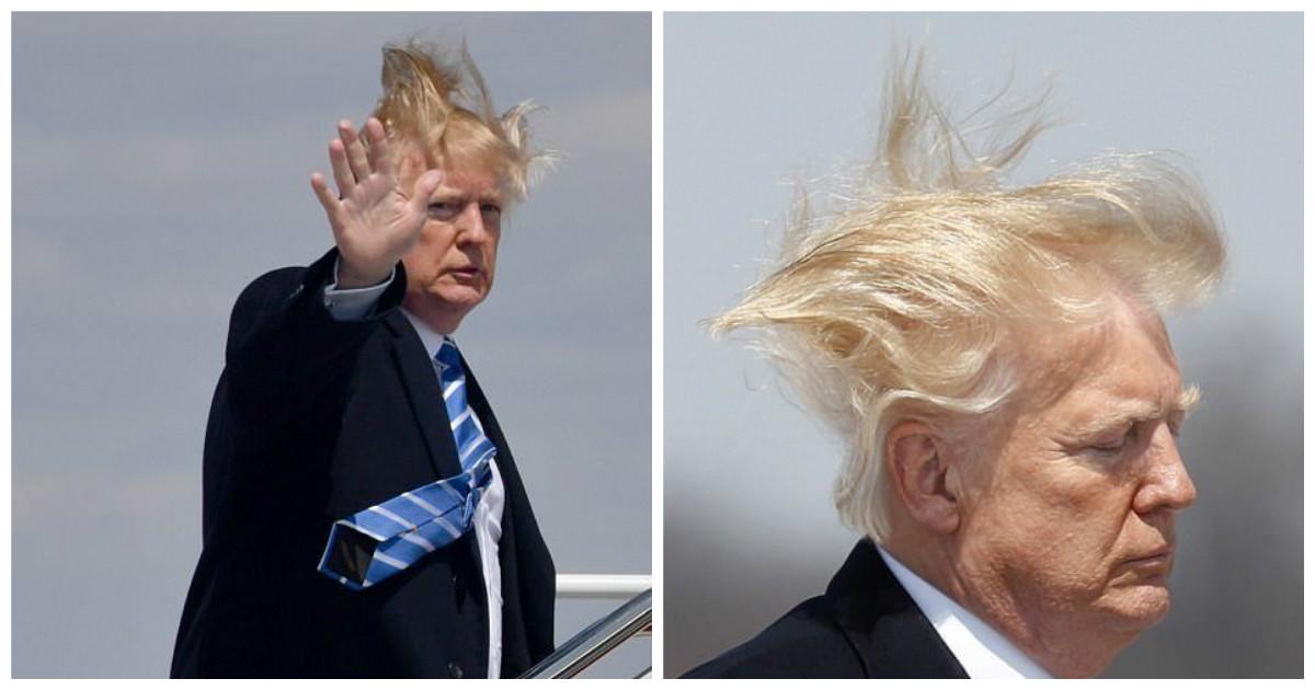 Волосы президента США живут собственной жизнью