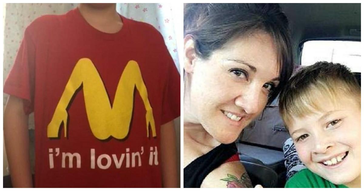 Смущенной маме пришлось извиняться за взрослую футболку своего малыша
