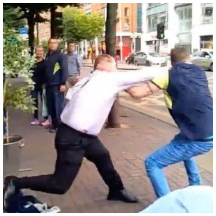 Драка с вышибалой в ирландском пабе попала на видео