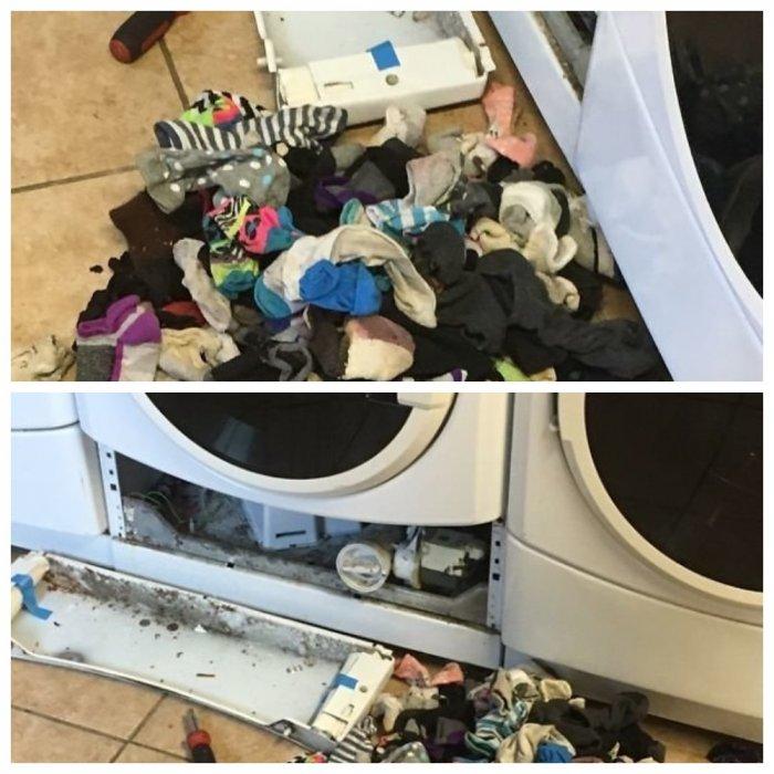 Американская пара выяснила, куда исчезают носки в стиральных машинках
