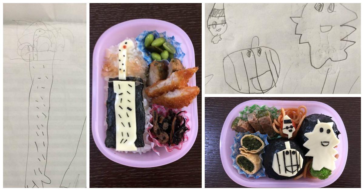 Детские рисунки дочери отец превращает в милые обеды