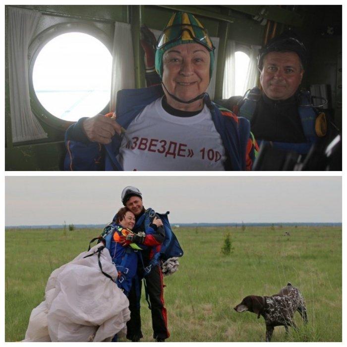 Пенсионерка-экстремалка прыгнула с парашютом в 80 лет