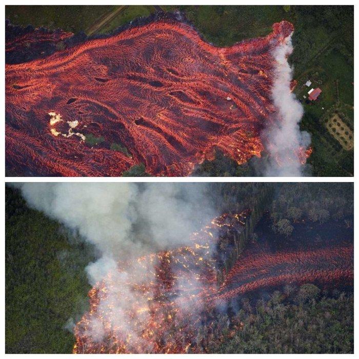 Преисподняя на Гавайях: аэросъемка извержения вулкана Килауэа