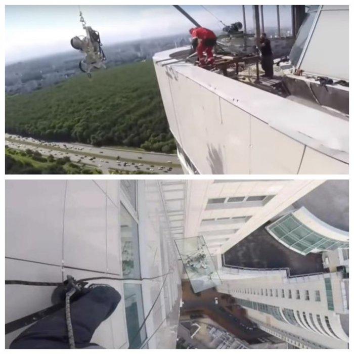 Альпинисты сняли падение 380-килограммового стекла с 47 этажа небоскреба
