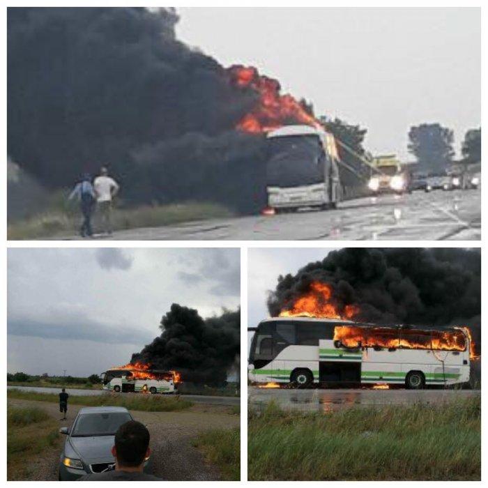 В Греции молния уничтожила пассажирский автобус