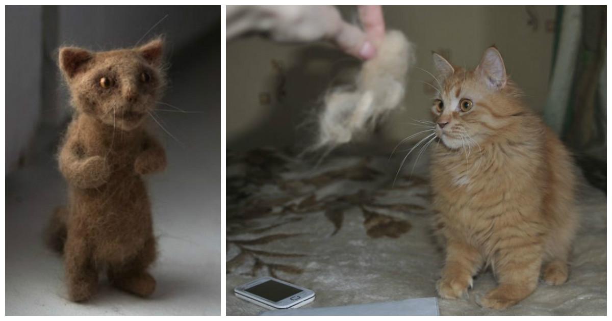 Рукодельница создала мини-версию своего кота из его же шерсти