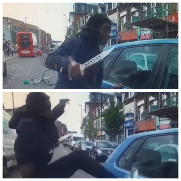 Нападение велосипедиста с огромным ножом на водителя попало на видео